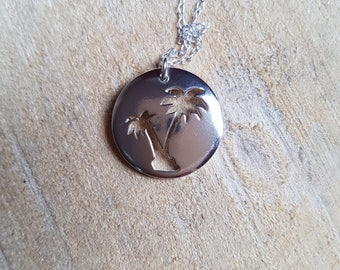 Sterling Silver Palm Tree Necklace Pendant Summer Beach Jewellery