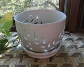Handmade Orchid Pot in White Porcelain