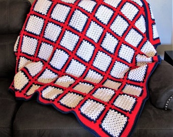 """RED WHITE & BLUE Crocheted Afghan - 54"""" wide x 57"""" long"""