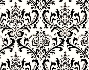 Traditions Black and White Damask Fabric Home Decor Weight Fabric by the 1/2 yard - Same Day Shipping