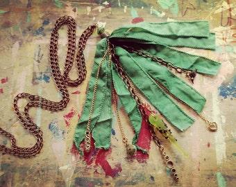 Long Silk Ribbon Tassel Necklace