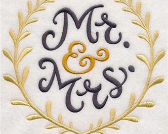 Mr & Mrs with Laurel Wreaths Embroidered Towel | Flour Sack Towel | Linen Towel | Dish Towel | Kitchen Towel | Hand Towel | Wedding Gift