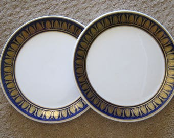 Sterling China Beaux Arts Restaurant Ware Plate Cobalt and Gold on Medallion White  9 inches Excellent Vintage Condition 1970s PAIR