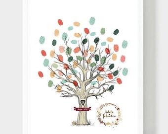 Tree Illustration Guestbook, Original Wedding Guestbook, Wedding book, Thumbprint leafs, Wedding Fingerprints Guestbook, PDF