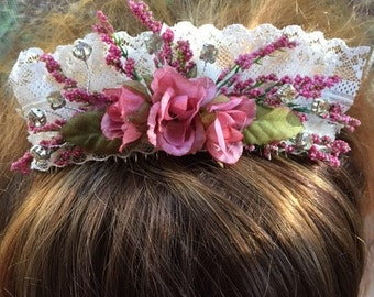 Bridal Comb Made With Mauve Roses, Lace And  Rhinestones