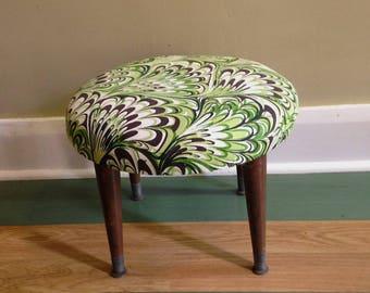 Mid Century Vintage Ottoman Foot Stool Reupholstered in Mod Vintage Fabric