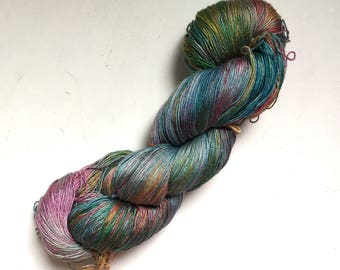 50% Off Mulberry Silk Lace Yarn 100g 800 Yards Himalayan Multicolor Muted Rainbow