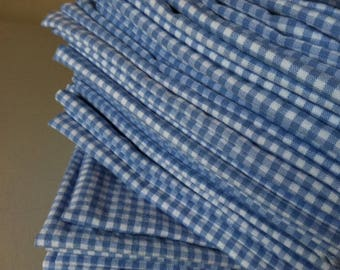 Periwinkle Blue / White Gingham Cloth Napkins - Set of 4- 12 inch, by CHOW with ME