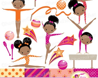 Little Girl Gymnasts Clip Art Set Afro Girl Cliparts Cute dress rhythmic gymnastic acrobatic Sport ribbon elements Digital Papers pf00064-1e