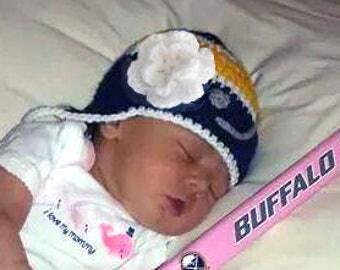 BABY GIRL HOCKEY Blue Gold Hockey, Hockey Baby Knit Hat, Crochet Baby Hockey, Baby Hockey Gift, Baby Hockey Girls, Knit Hockey Photo Prop