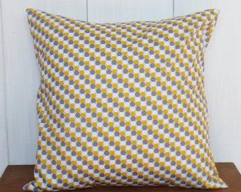 Cushion cover 40 x 40 cm grounds geometric diamond yellow, gray and white - fabric oeko-tex
