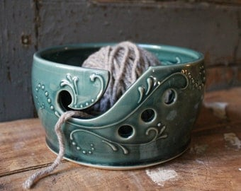 Yarn Bowl, tip resistant, Crochet, Knitting, Teal Green, Present, Gift, IN STOCK, ready to ship,