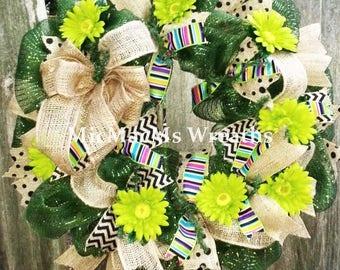 Anytime Wreath, Summer Wreath, Daisy wreath, Rustic Summer Wreath, Flower wreath, bright summer door hanger
