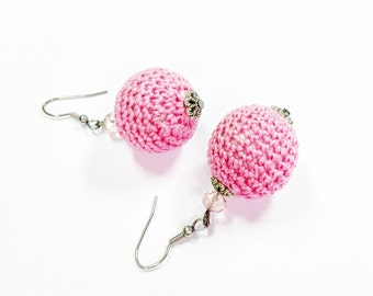 Pink unique women earrings
