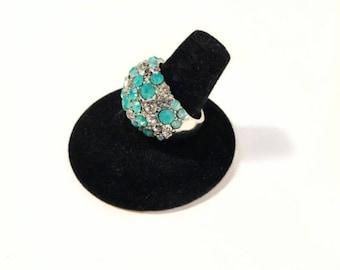Rhinestone Encrusted Silver Tone Ring Size 9 Teal Blue