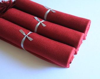 3 Burgundy Pashmina Scarves for Bridesmaids and Guests, Warm Burgundy Bridal Wrap and Gift Keepsake, Set of 3 Burgundy, Burgundy Wraps