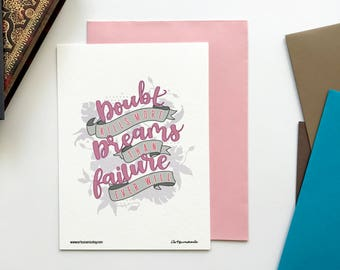 Doubt Kills Dreams Mini Art Print Handlettered Motivational Quote Notecard