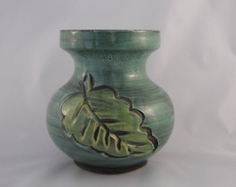 Collectible Italian Pottery Vase With  Red And Green Leaf Decor
