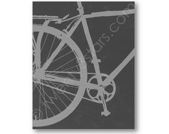 Bicycle Close Up Canvas, Art Print or Foil Print, Choose Any Colors, Bathroom or Bedroom Art for Bicyclists, Foil Bicycle Canvas Art Print