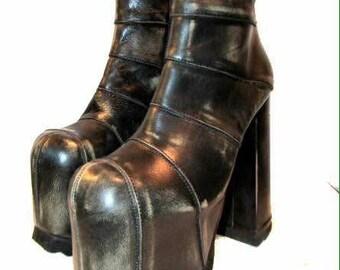 Vintage Luichinys Platform Glam Boots 1980's RARE