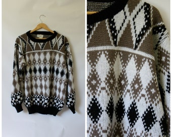 Mens Vintage Sweater / 1970s Diamond Sweater / Sears Mens Store Sweater / Hipster Campus Sweater / Argyle Sweater M/L