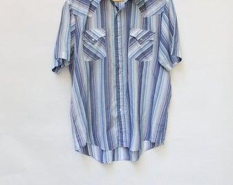 Sale Vintage Mens Western Shirt / Vintage Cowboy Shirt / Ely Cattleman Shirt / 1970s Shirt L