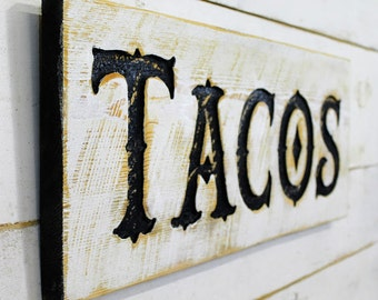 """Tacos Sign 24"""" x 10"""" - Carved in a Cypress Board Rustic Distressed Shop Advertisement Farmhouse Style Wooden Wood Gift Minimalist Farm"""