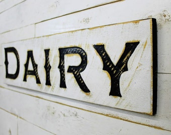 """Dairy Sign - 40"""" x 10"""" Carved in a Cypress Board Rustic Distressed Arts & Crafts Farmhouse Style Kitchen Wall Decor Wooden Gift"""