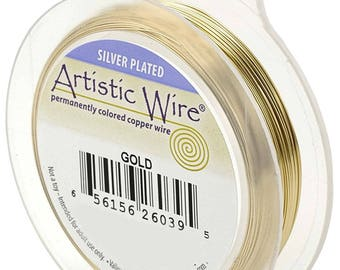 Artistic Wire Silver Plated Gold Color 24GA - wire wrapping craft wire jewelry wire beadalon jewelry making tarnish resistant (9345)