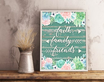 Succulents Digital Print | 8 x 10 Printable Wall Decor | Instant Download Digital Illustration | Floral Prints | Faith, Family and Friends