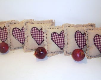 Country Bowl Fillers, Country Hearts, Scented, Hand Sewn, Primitive, Cottage Decor, Home Decor, Home and Living, Wedding Gift, Party Decor