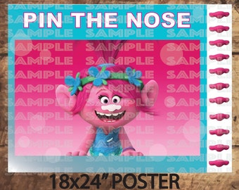"""TROLLS PARTY GAME,Poppy Pin The Nose, Pink Trolls movie Party decor 18X24"""" Poster size (Big) and 16x20"""""""