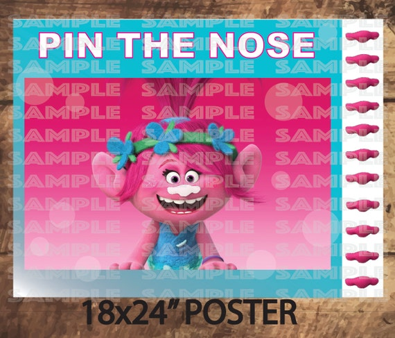TROLLS PARTY GAMEPoppy Pin The Nose Pink Trolls Movie Party
