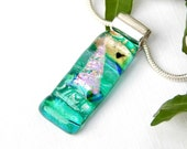 Sea Green Dichroic Glass Slimline Pendant, Fused Glass Jewelry, Translucent Art Glass Sailing Boat Necklace, Sailing Enthusiast Gift