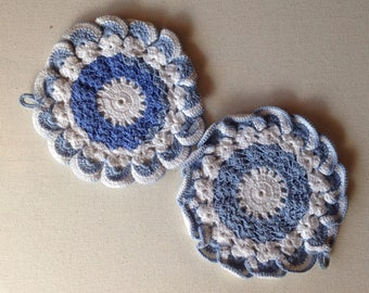 Handmade POT HOLDERS - 2 Blue and White Floral Pot holders Trivets Doillies Lovely sweet vintage crocheted cottage Kitchen Linens