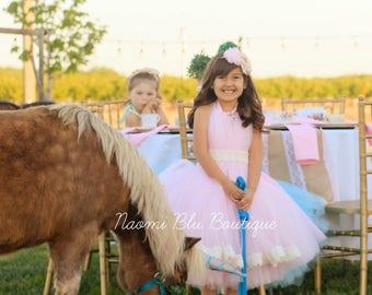 Naomi Blu High Neck Flower Girl Tutu Dress in Pink with Lace Trim. Wedding, Flower Girl
