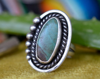 Desert vibes ring turquoise Native American ring sterling silver setting Indian native vintage