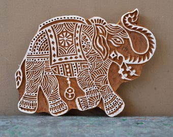 Wood block stamp Indian elephant traditional henna carved wooden printing stencil fabric textile material design hand carved large