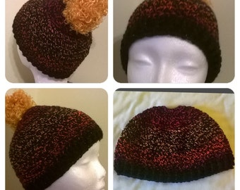 Firecracker Crochet Messy Bun Hat with Black Sparkle Yarn Band