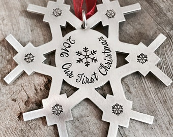 Personalized CHRISTMAS ORNAMENT, Snowflake Ornament, Christmas Decorations, hand stamped, family ornament, hostess gift, Keepsake, Christmas