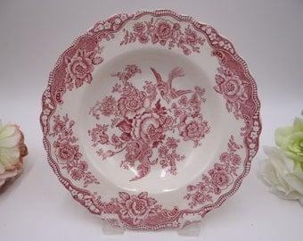 "Vintage 1930s Crown Ducal English Bone China ""Bristol"" Pink Rim Soup Bowl - 2 Available"
