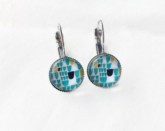 White, Navy, turquoise earrings cabochon 12 mm, modern minimalist geometric pattern, made in quebec, gift for her