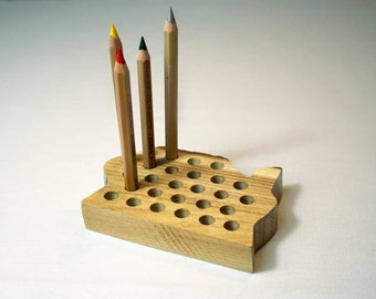 Wooden Pencil Holder - Desk Organizer - Office Desk Accessories - Wooden Brush Holder - Wooden Pen Stand