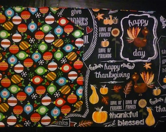 Reversible Holiday Table Runner - Give Thanks/Christmas Ornaments