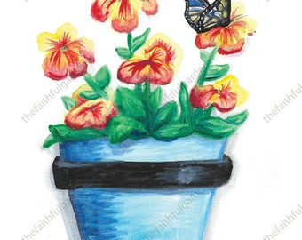 Blue Pot with Butterfly Watercolor Original Painting