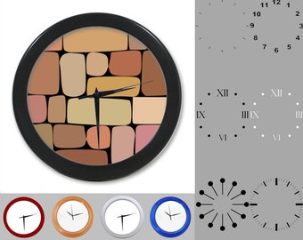 Colorful Rock Design Wall Clock, Abstract Design, Stone Blocks, Customizable Clock, Round Wall Clock, Your Choice Clock Face or Clock Dial