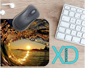 Beach Mouse Pad, Beach Mousepad, Wave Rectangle Mouse Pad, Blue, Wave Circle Mouse Pad, Beach Mat, Computer, Ocean, Tide, Surfing, Sunset