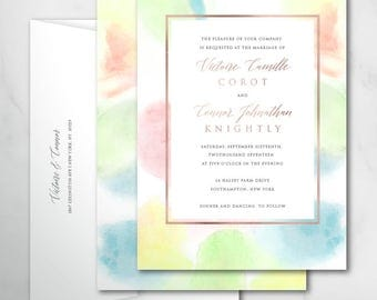 Victorie Wedding Invitations | Custom Wedding | Printable Wedding Invitation | Printed Wedding Invite | Abstract watercolor invitations