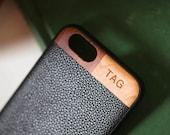 Monogram iPhone 6 Leather Case, iPhone 6/6 Plus/7 Case With Leather, Wood iPhone Monogram Case