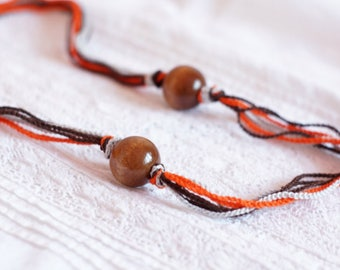 Summer necklace thread cotton for girls lace fiber orange minimalism gift idea fall fashion